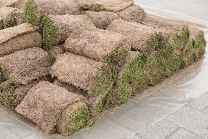 Une pile de gazon herbeux en petits pains, petit pain d'herbe, de manière opérationnelle dans l'horticulture ou l'aménagement photographie stock libre de droits