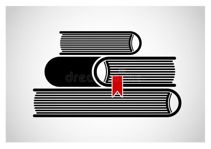Une pile de livres empilés Logo ou emblème Image noire et blanche illustration stock