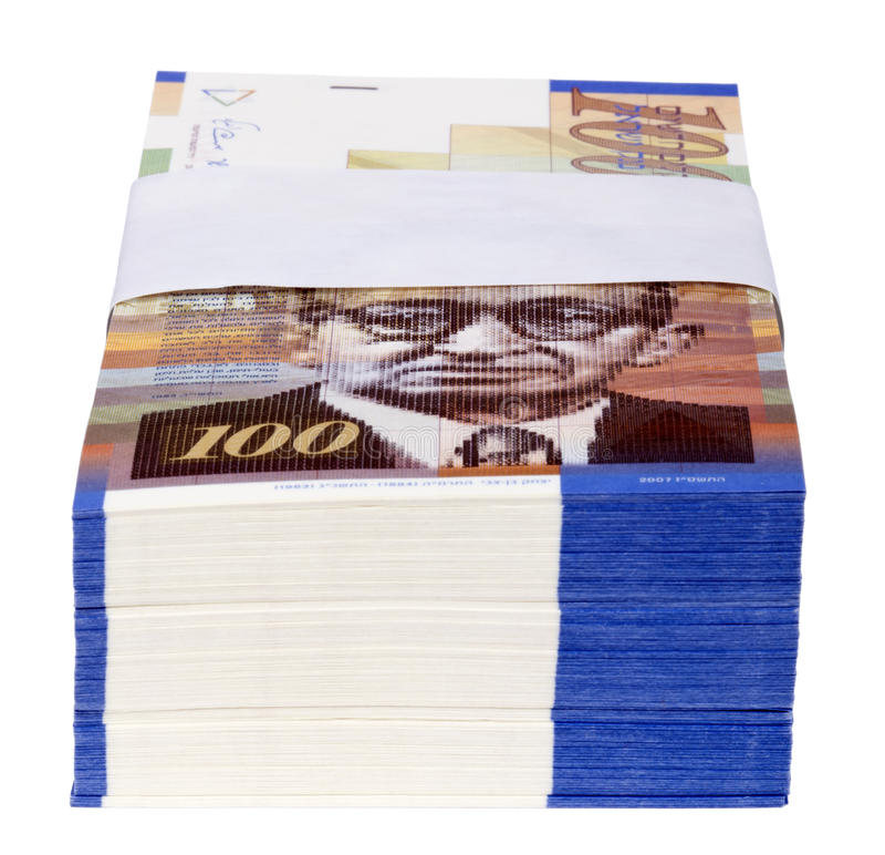 Pile d'isolement de 100 factures de NIS photos stock