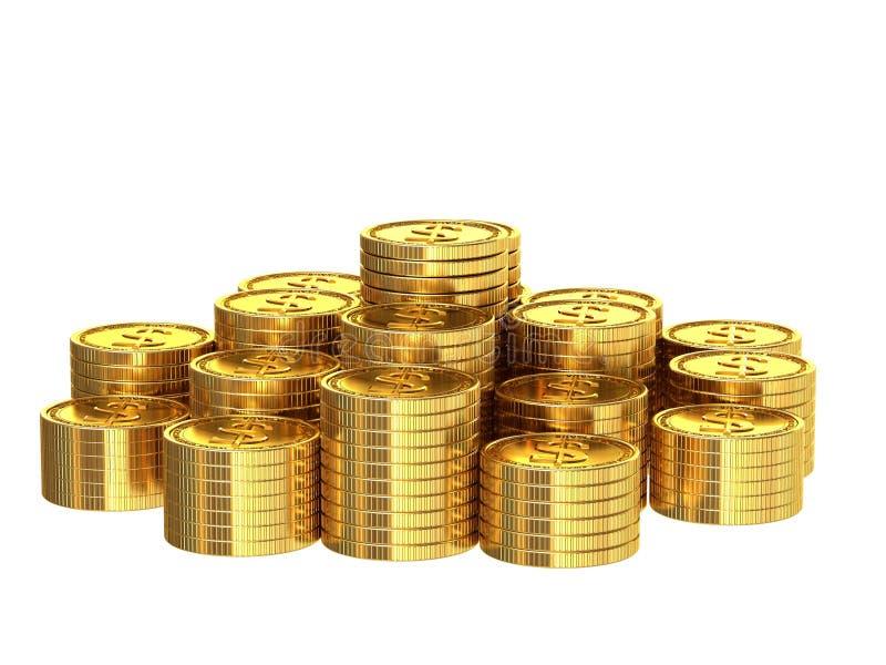 Une pile de pièces de monnaie d'or illustration stock