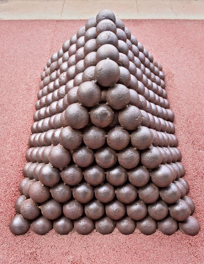 Une pile des boules de canon de fer images libres de droits