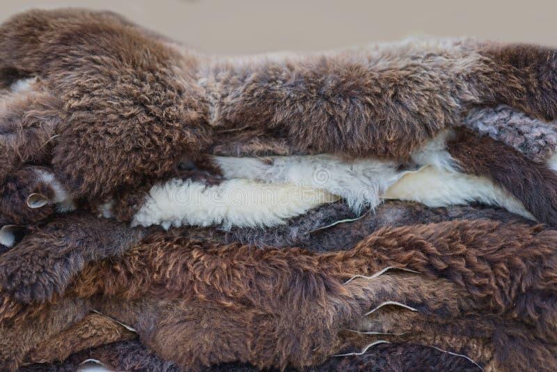 Une pile des fourrures à vendre sur un marché photographie stock libre de droits