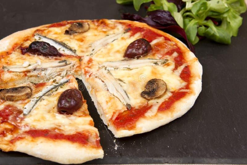 Une pizza d'anchois photo libre de droits