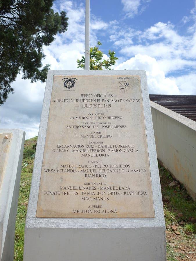 Une plaque commémore les dirigeants qui ont combattu dans la bataille de marais de Vargas image libre de droits