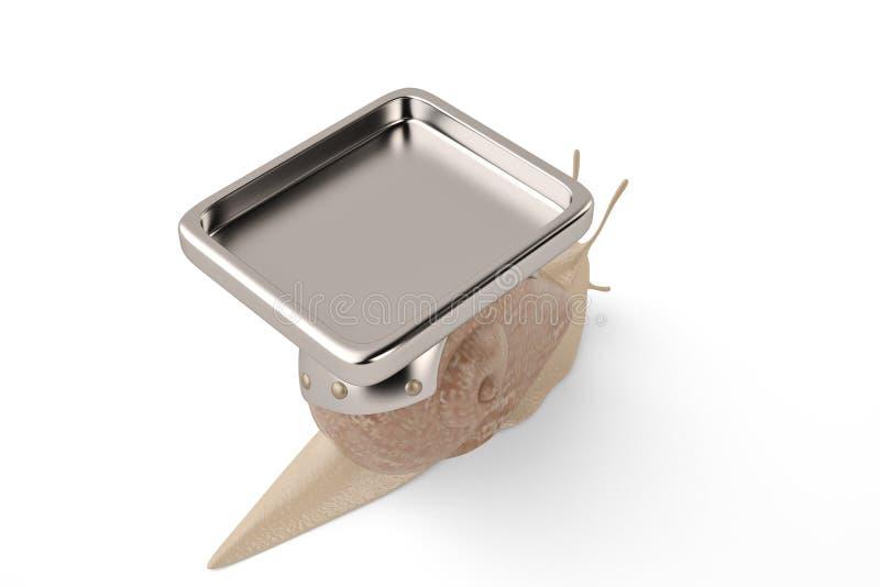 Une plaque de métal sur l'escargot illustration 3D illustration stock