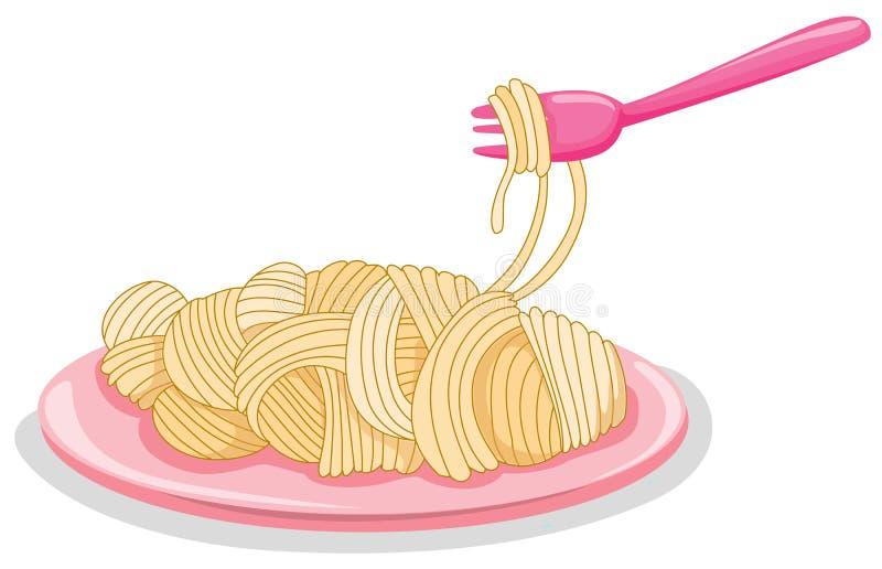 Une plaque des pâtes crues avec la fourchette illustration libre de droits