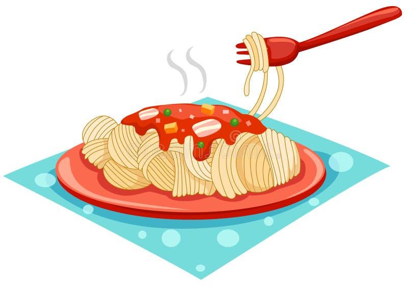 Une plaque des spaghetti avec la fourchette illustration stock