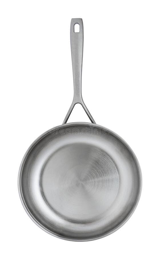Une poêle en métal, d'isolement sur un fond blanc images stock