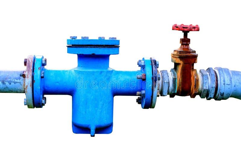 Une pompe à eau plus froide avec l'indicateur de pression sur le fond blanc photo stock