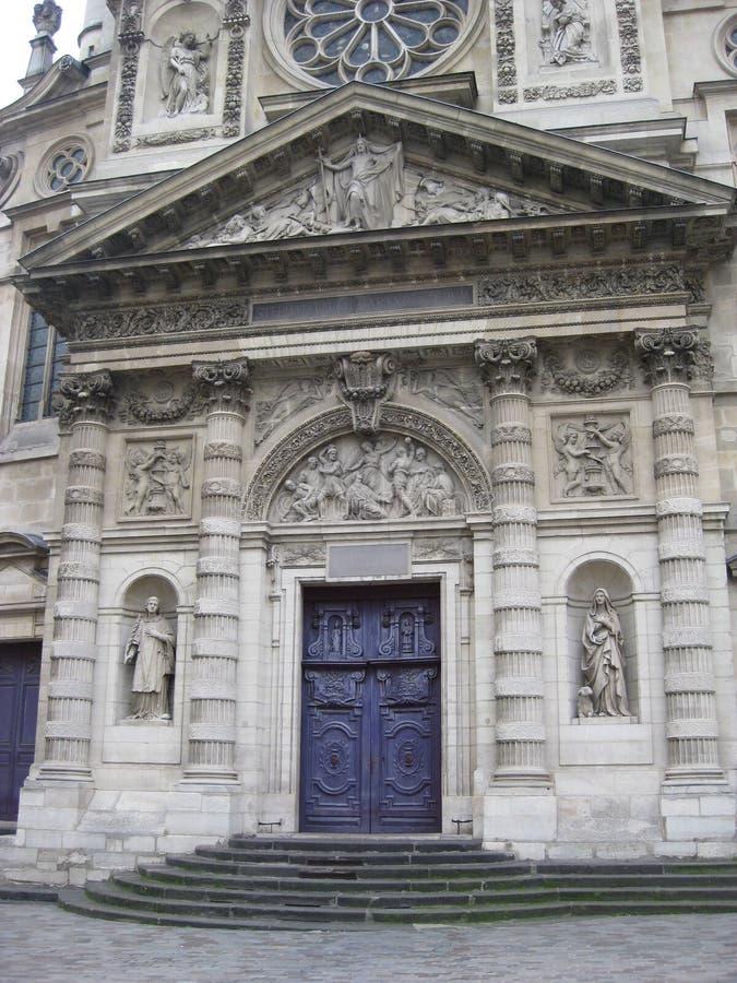 Une porte bleue renversante près du Panthéon, Paris photographie stock
