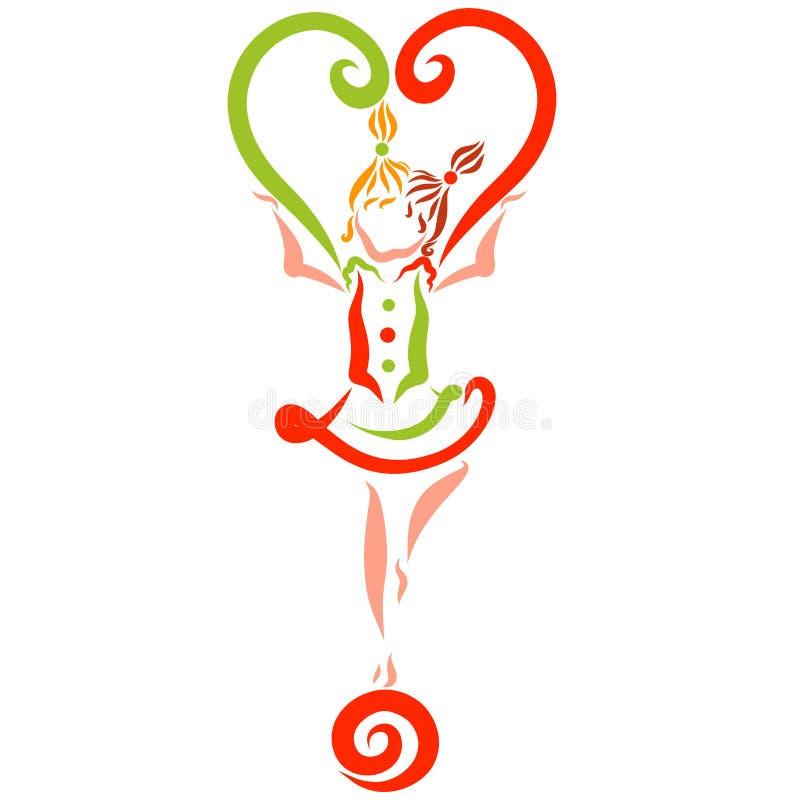 Une position de fille sur une boule, un coeur coloré, agilité illustration stock