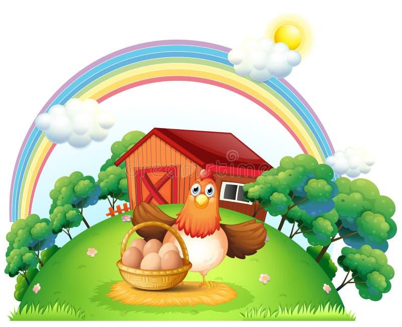 Une poule avec un panier d'oeuf à la ferme illustration de vecteur
