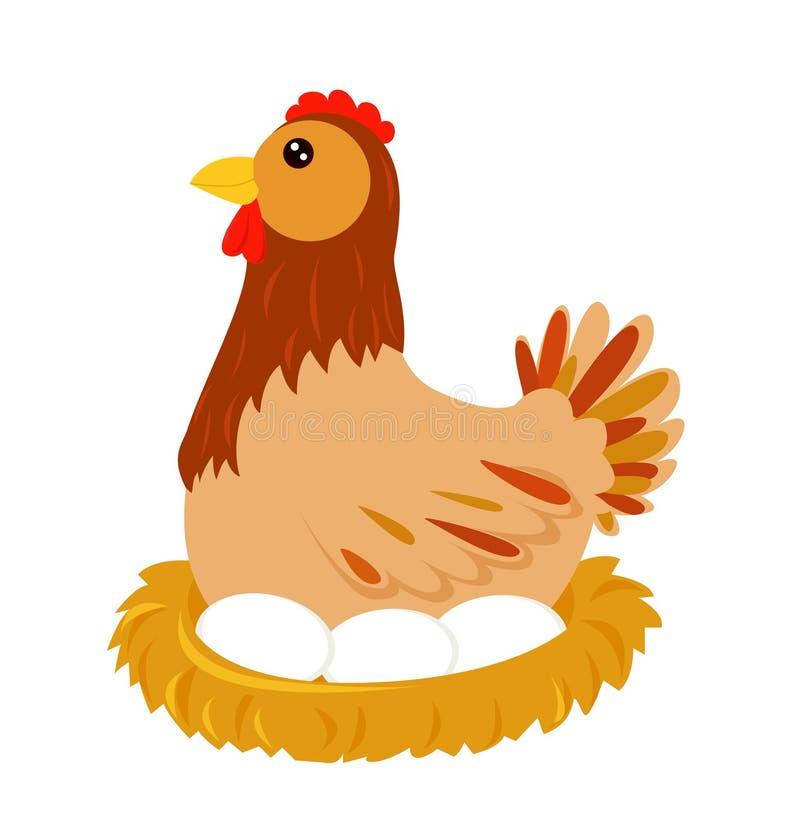 Une poule dans le nid illustration libre de droits