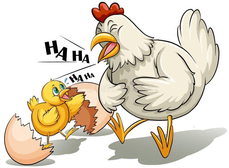 Une poule et un poussin illustration stock