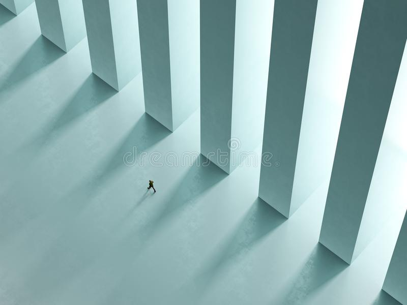 Une promenade isolée d'homme le couloir avec des colonnes au rendu de la lumière 3D illustration libre de droits