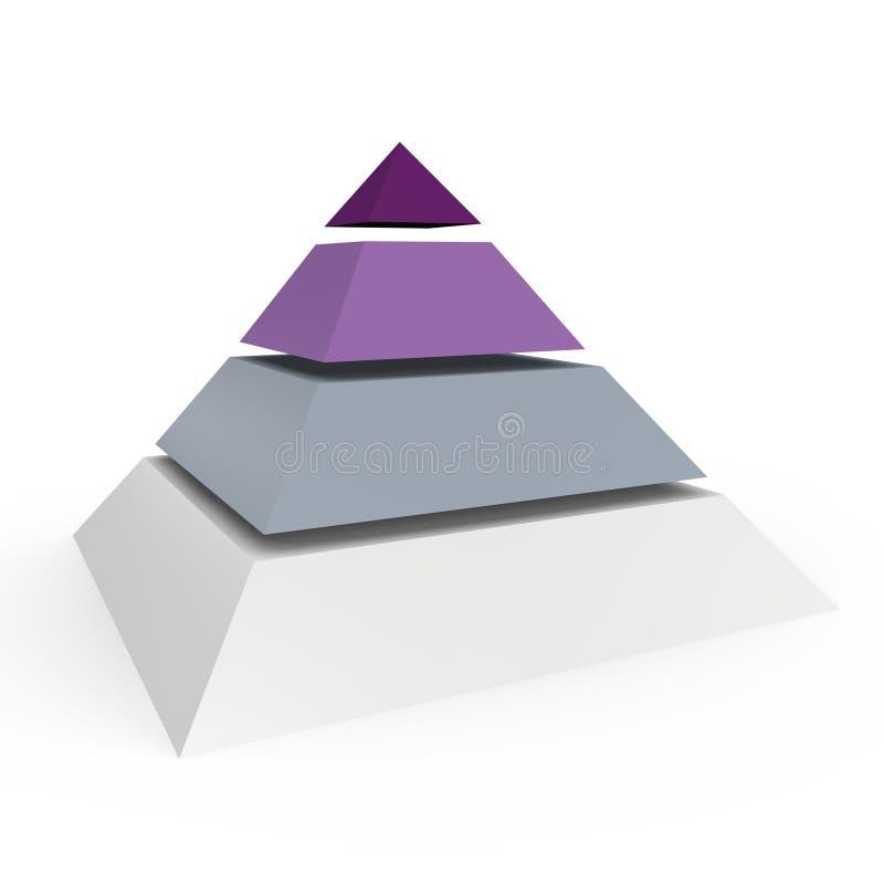 Une pyramide de 4 niveaux - une image 3d illustration de vecteur