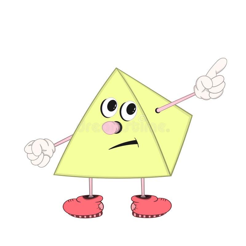 Une pyramide drôle de bande dessinée avec des yeux, des bras et des jambes dans des chaussures montre un doigt à un objet imagina illustration de vecteur