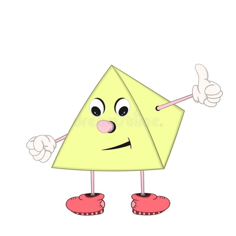 Une pyramide drôle de bande dessinée avec des yeux, des bras et des jambes dans des chaussures sourit et montre un signe avec app illustration de vecteur