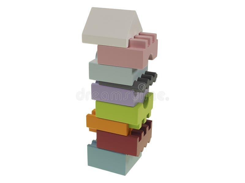 Une pyramide rectangulaire colorée de bois avec 9 parts sur un fond blanc décalé image stock