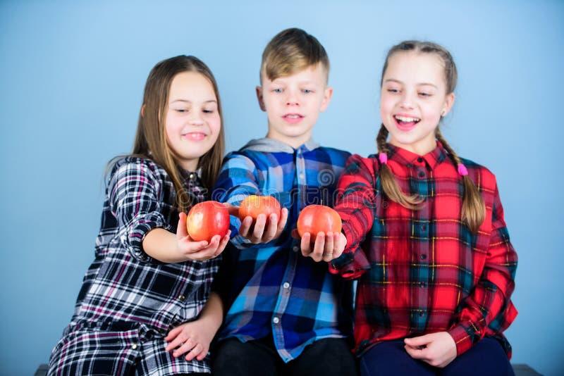 Une qualité plus organique Peu enfants tenant les pommes organiques rouges Les petits enfants ont plaisir à manger des fruits org photos libres de droits