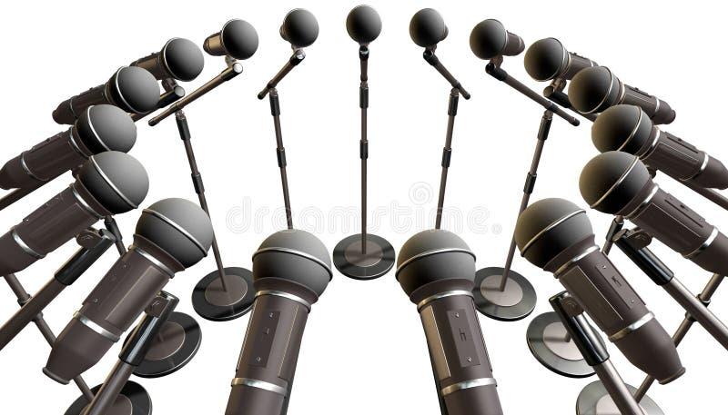 Microphones et rangée de supports illustration stock
