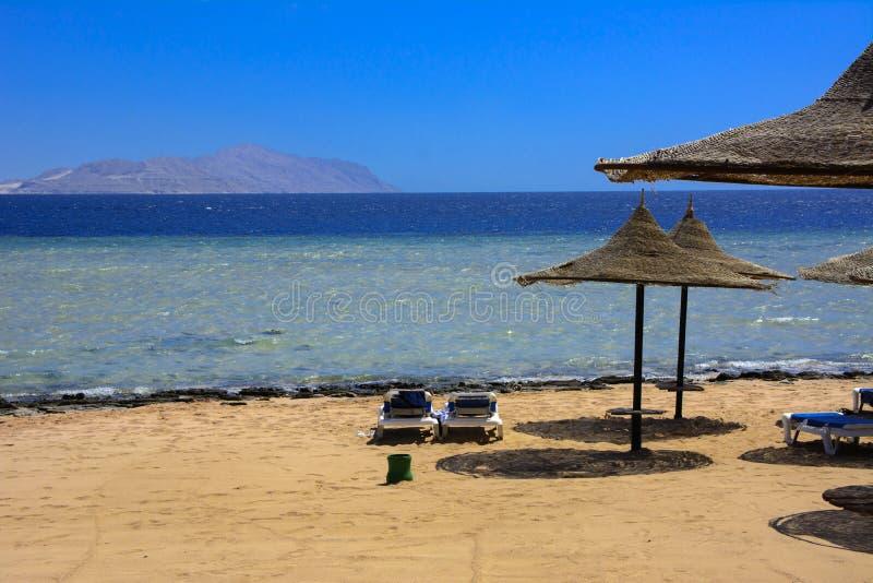 Une rangée des parapluies de paille à protéger contre la surchauffe et les lits pliants sur une plage sablonneuse contre un ciel  photo libre de droits
