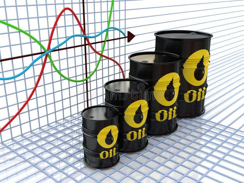 Une rangée des tonneaux à huile et un diagramme financier sur le fond (3d r illustration libre de droits