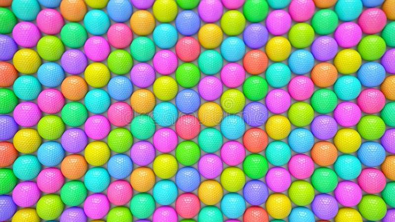 Une rangée vibrante énorme de boules de golf colorées illustration de vecteur