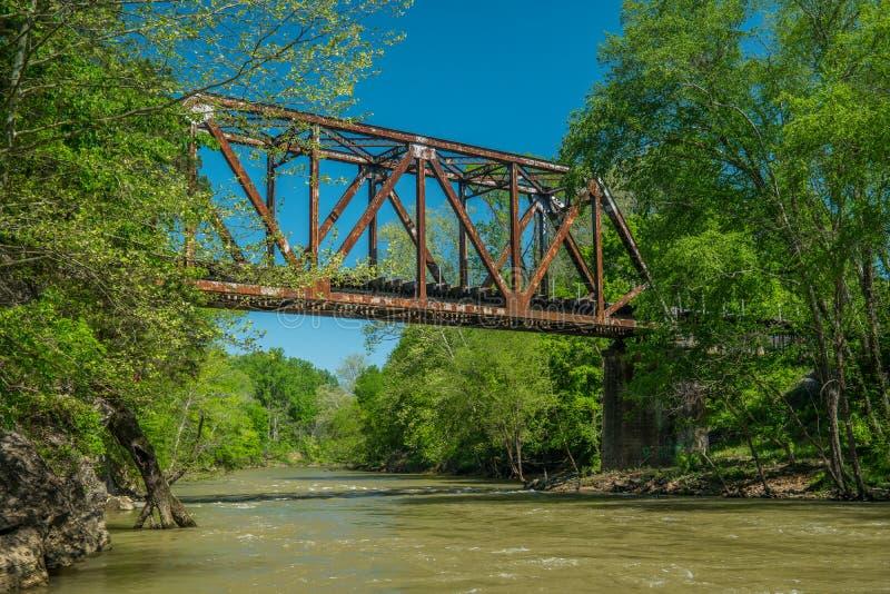 Une rivière coulant sous un chevalet de train photo libre de droits