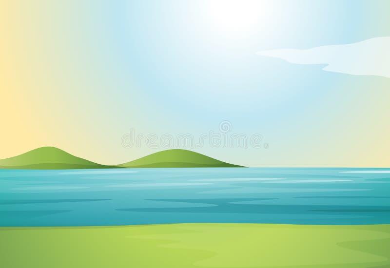 Une rivière et collines illustration libre de droits