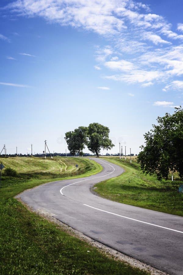 une route de campagne courbante avec de vieilles bordures de haies et prés d'un arbre sous un ciel nuageux bleu d'été au Belarus photographie stock