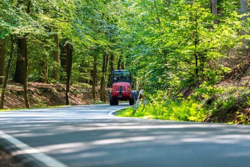 Une route de campagne dangereuse dans une forêt de renne coulant juste ainsi en Allemagne images libres de droits