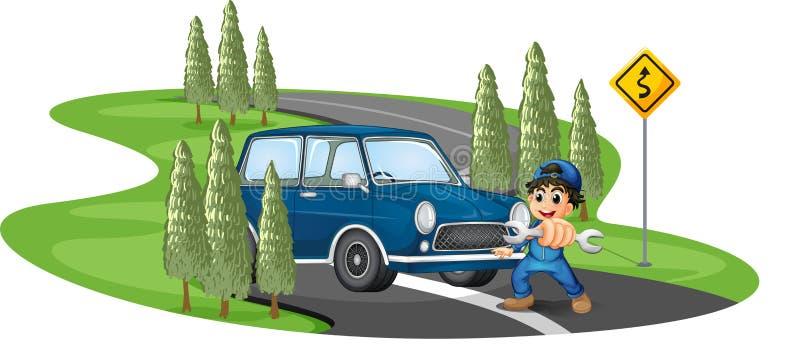 Une route de courbe avec un garçon et une voiture illustration libre de droits