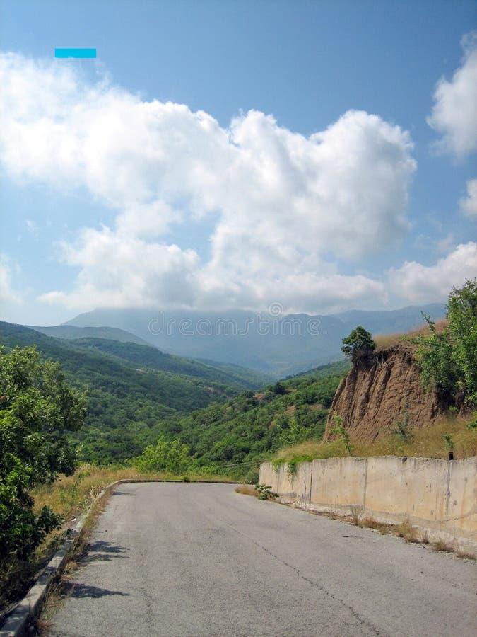Une route goudronnée étroite un jour ensoleillé chaud après les arbres à feuilles persistantes et l'herbe soleil-roussie image libre de droits