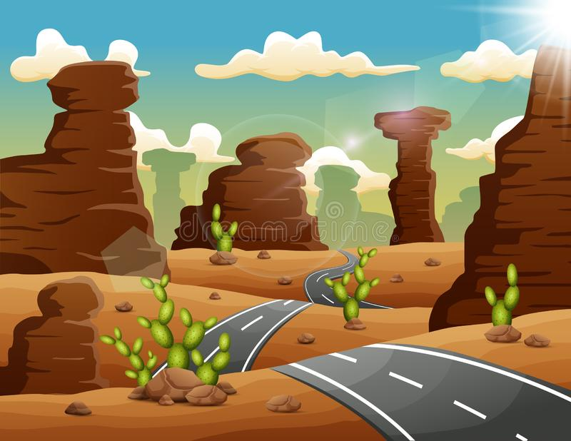 Une route menant aux montagnes et aux roches sur un paysage de désert illustration stock