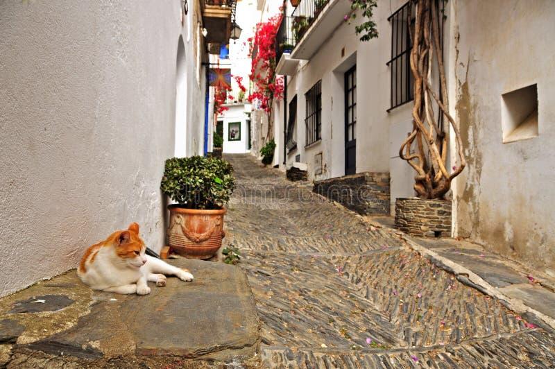 Une rue de Cadaques, Espagne images libres de droits