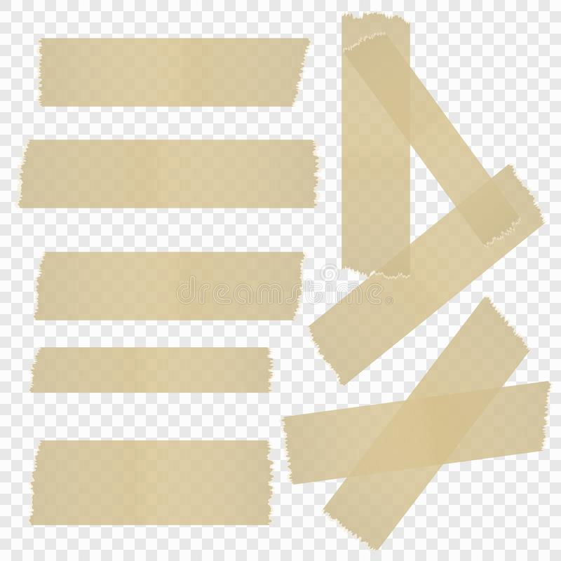 Une sélection de ruban adhésif sur un fond transparent d'isolement Illustration de vecteur illustration de vecteur
