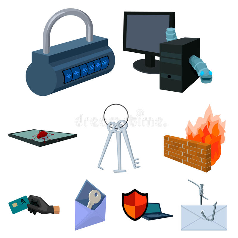Une sélection des icônes au sujet de la protection et de la rupture illustration libre de droits