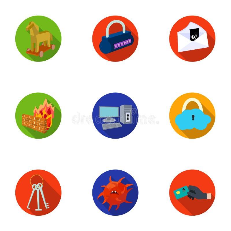 Une sélection des icônes au sujet de la protection et de la rupture Technologie moderne de la protection contre la rupture Pirate illustration stock