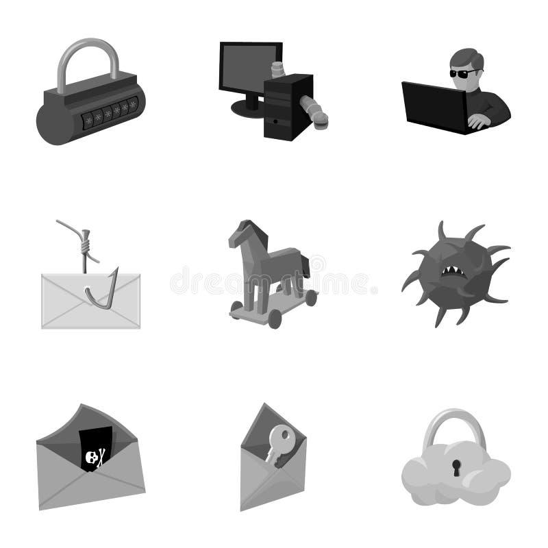 Une sélection des icônes au sujet de la protection et de la rupture Technologie moderne de la protection contre la rupture Pirate illustration de vecteur