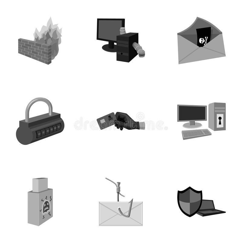 Une sélection des icônes au sujet de la protection et de la rupture Technologie moderne de la protection contre la rupture Pirate illustration libre de droits