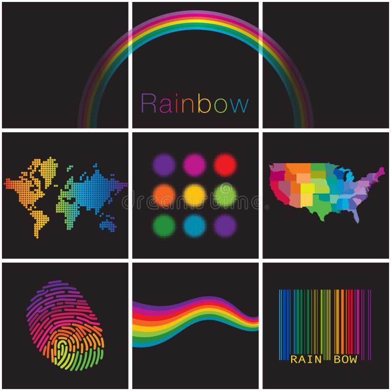 Une sélection diverse colorée des arcs-en-ciel créatifs illustration libre de droits