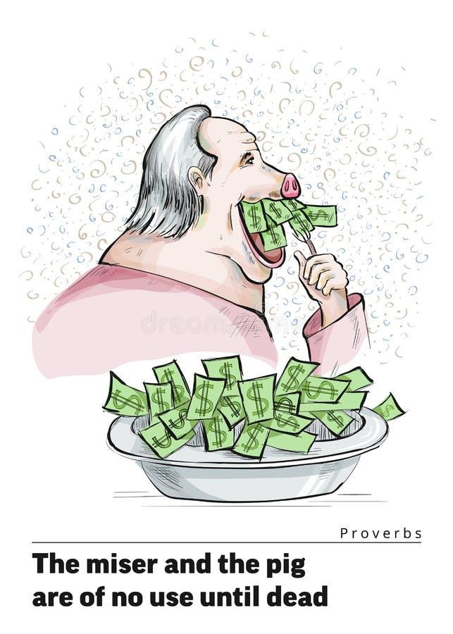Une série de cartes postales avec un porcelet Proverbes et énonciations Pour acheter un porc dans une poussée illustration libre de droits
