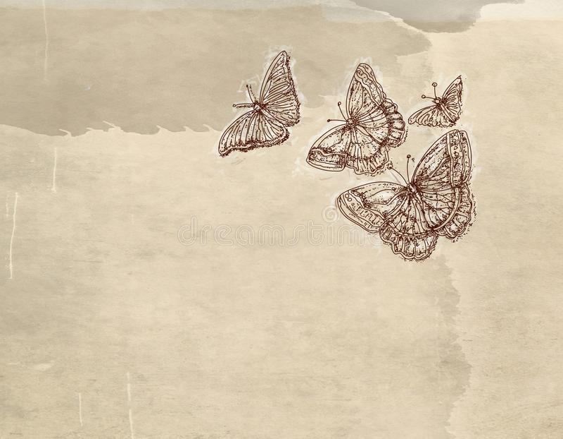 Une série de papillon d'animaux avec le fond de vintage, cartes postales artistiques illustration libre de droits