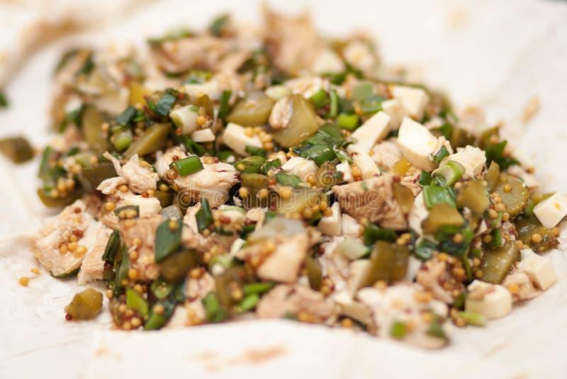 Une salade savoureuse et utile de fromage, poulet bouilli, cucu mariné images libres de droits