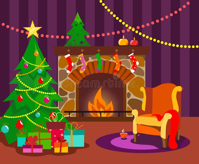 Une salle confortable avec une cheminée, décorée d'un arbre de Noël et d'un fauteuil pour Noël dans le style d'un appartement ave illustration libre de droits
