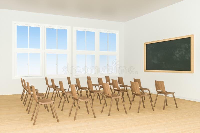 Une salle de classe avec des chaises à l'intérieur et un tableau noir dans l'avant de la salle, rendu 3d illustration de vecteur