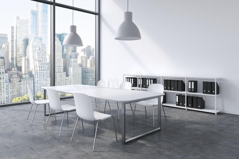 une salle de conf rence dans un bureau panoramique moderne avec la vue de new york table blanche. Black Bedroom Furniture Sets. Home Design Ideas