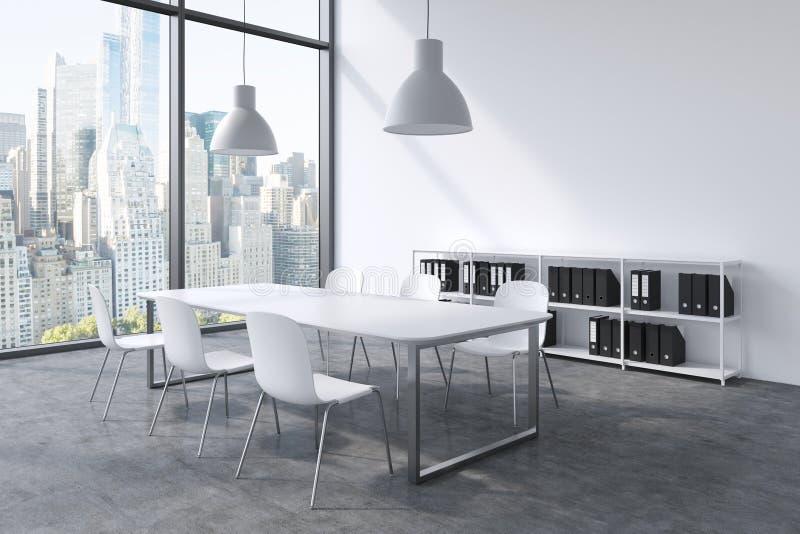 Une salle de conférence dans un bureau panoramique moderne avec la vue de New York Table blanche, chaises blanches, une bibliothè illustration stock