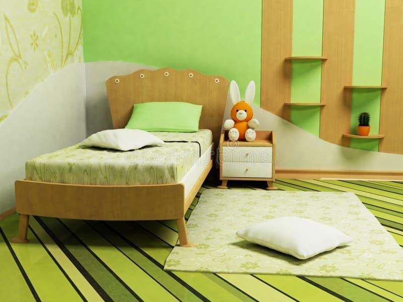 Une salle verte gentille pour des enfants illustration libre de droits